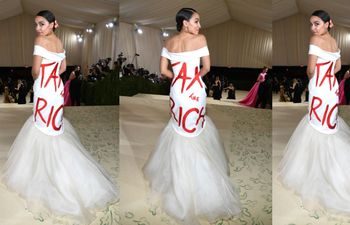 Alexandria Ocasio-Cortez pide más impuestos a los ricos con su vestido y le llueven las críticas