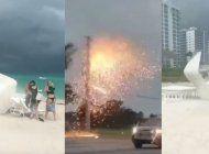 el mal tiempo en miami provoco cancelaciones de vuelos en mia, caos en miami beach y  lineas electricas caidas que provocaron incendios