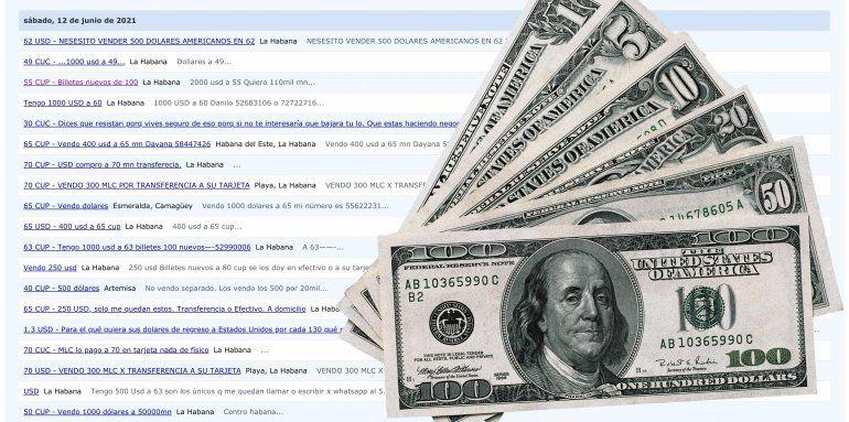 Se desploma el valor del dólar en Cuba y se dispara la venta de la divisa estadounidense en Revolico