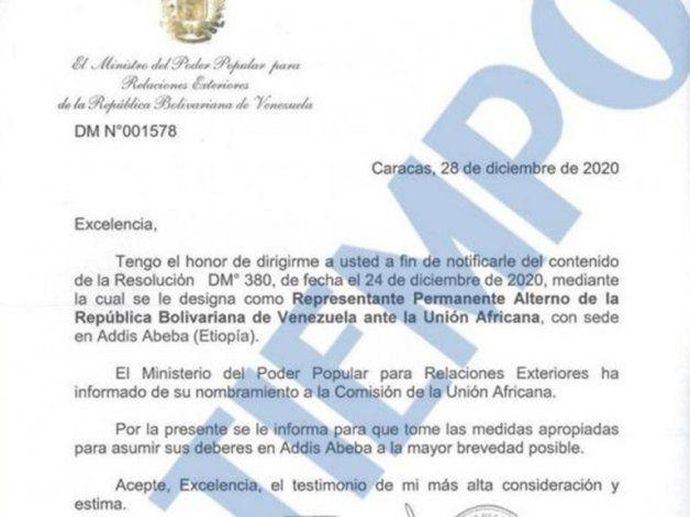 El oficio con el que el canciller Jorge Arreaza pidió que Saab asuma funciones inmediatas en Etiopía (Crédito: El Tiempo)