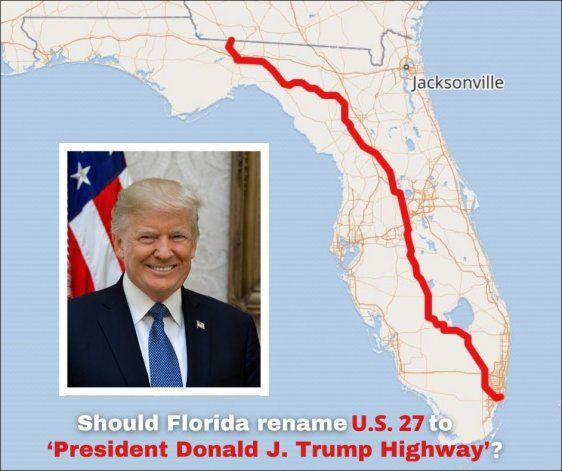 Una carretera que atraviesa Florida podría llamarse como Donald Trump