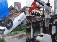 cubanos vuelcan patrullas y carros de la seguridad del estado en medio de las protestas