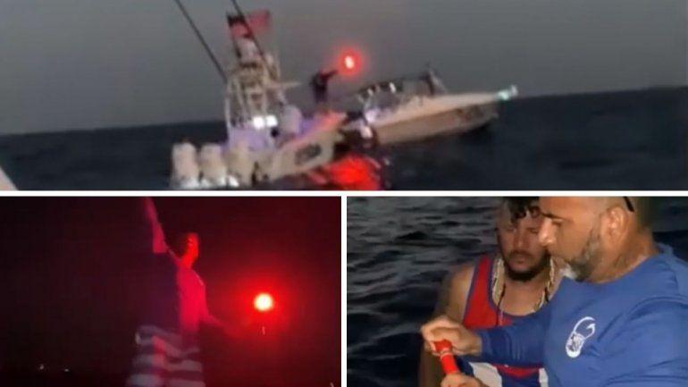 Así la flotilla de exiliados cubanos de Miami lanzaron bengalas frente a las costas de Cuba