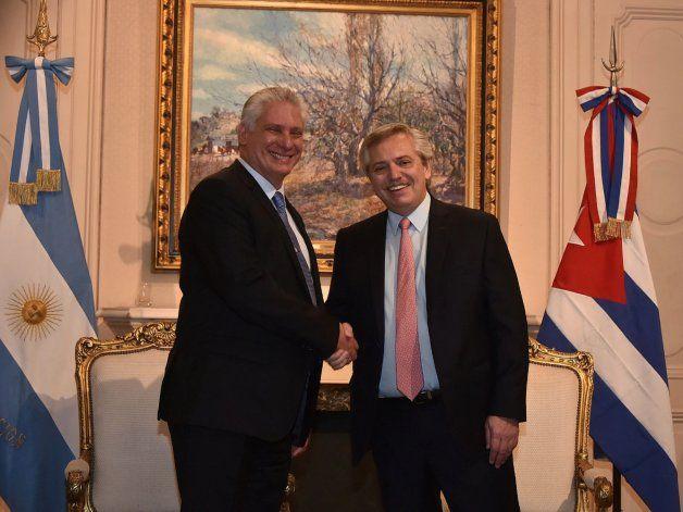 Alberto Fernández se reúne con Díaz-Canel en su primer día como presidente