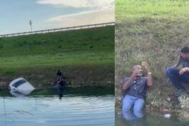 hombre rescata a un chofer que cayo a un canal en miami