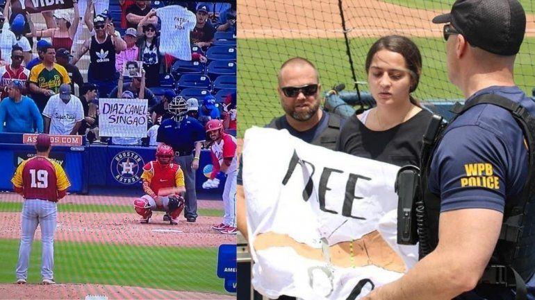 La Federación Cubana de Béisbol considera acciones inadmisibles las protestas contra el régimen en el partido en Florida
