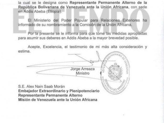 El oficio firmado por Jorge Arreaza (Crédito: El Tiempo)