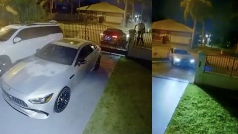 Captado en cámara el robo de un Mercedes Benz de lujo de una casa de Westchester
