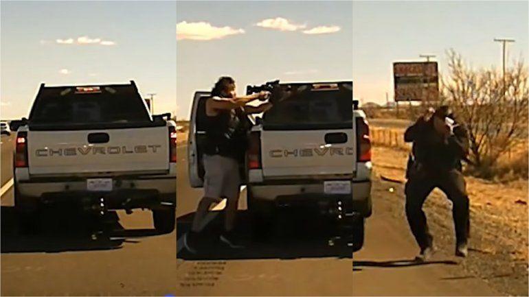 El aterrador momento en que un hispano acribilló a un oficial en Nuevo México con una AR-15