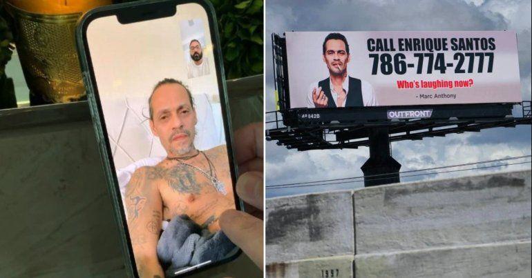 Marc Anthony se venga de Enrique Santos publica su número de teléfono en una valla publicitaria en Hialeah