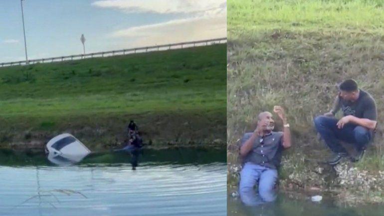 Hombre rescata a un chofer que cayó a un canal en Miami
