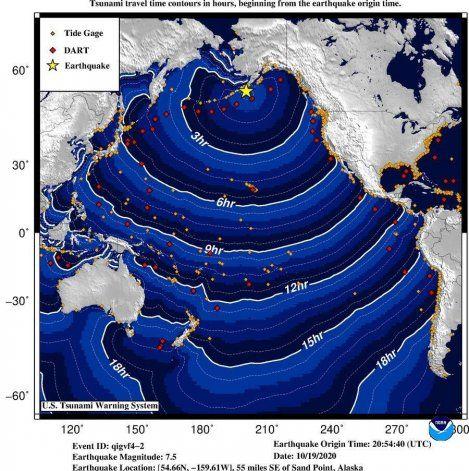 Emiten una alerta de tsunami tras un terremoto de 7,5 de intensidad en aguas de Alaska