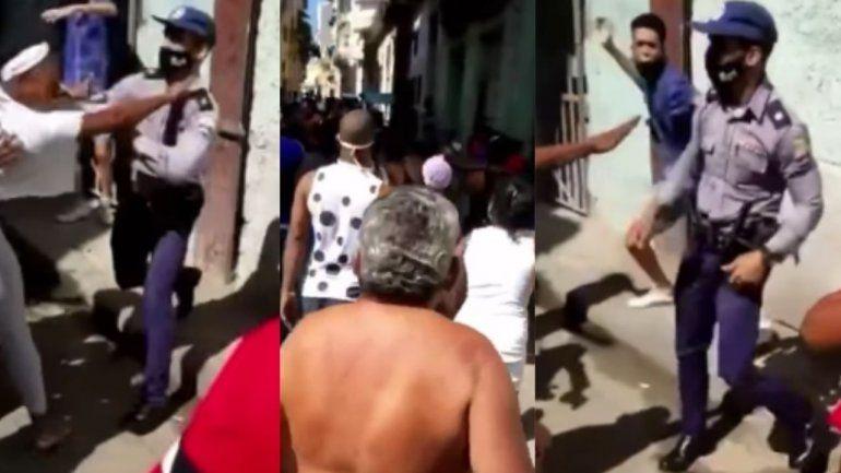 Un Policía cubano golpea y patea a una mujer en La Habana entre gritos de abusador y descarado