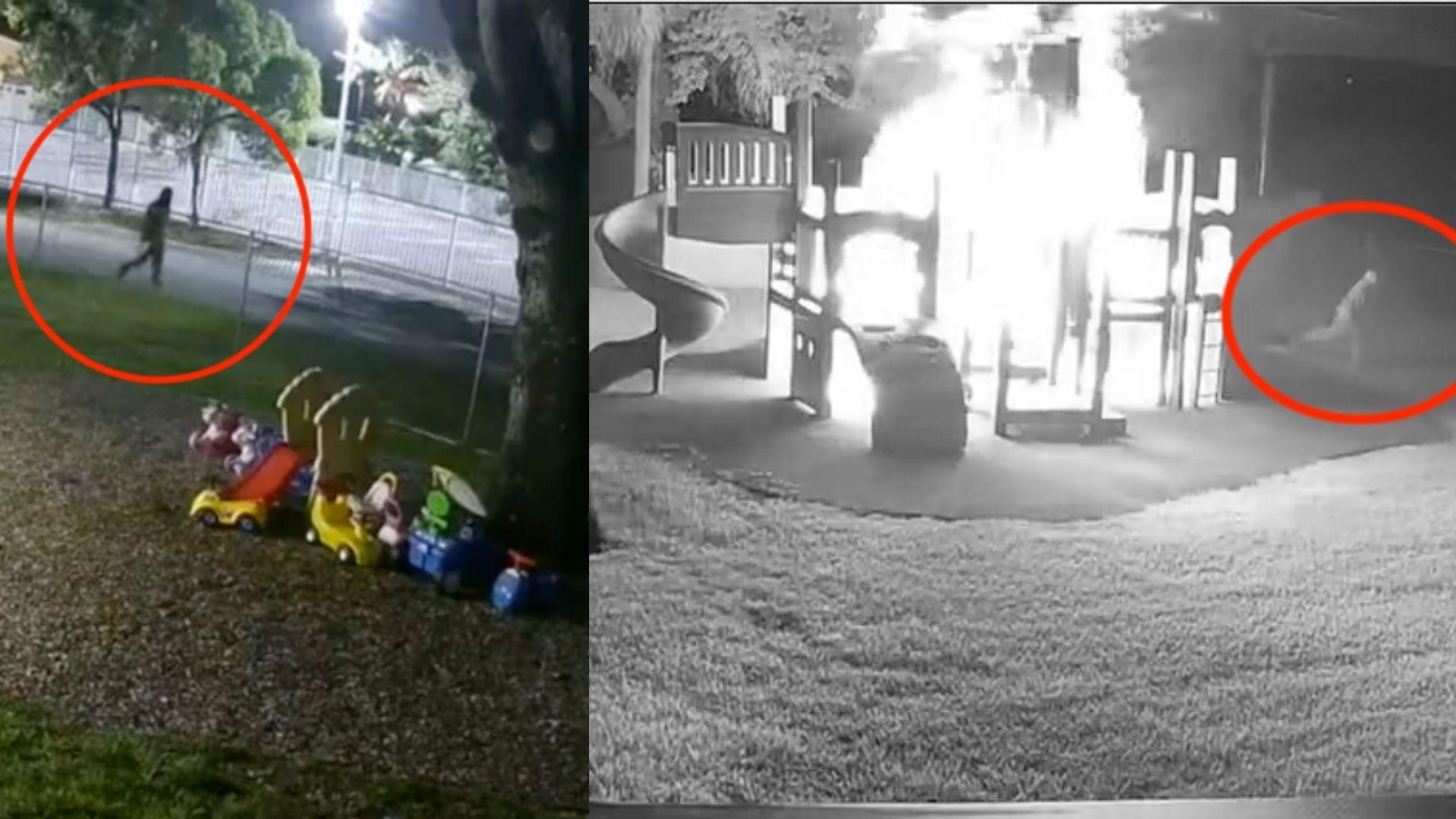 los ninos ya no tienen donde jugar: buscan al responsable de incendiar el parque de una escuela en homestead