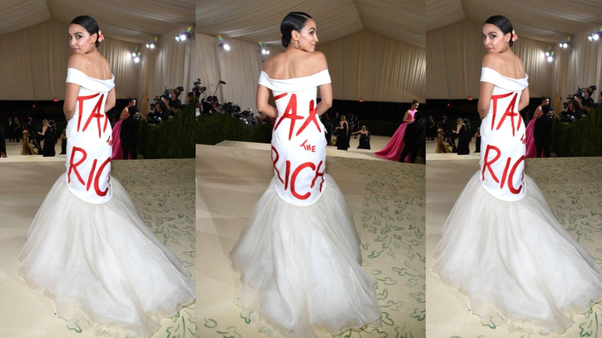 alexandria ocasio-cortez pide mas impuestos a los ricos con su vestido y le llueven las criticas