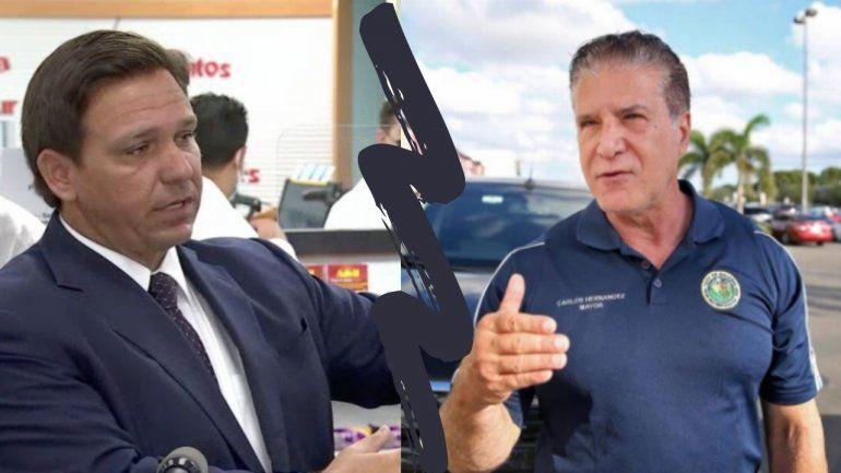 El gobernador Ron DeSantis realizó una conferencia de prensa en Hialeah y no invitó al alcalde Carlos Hernandez