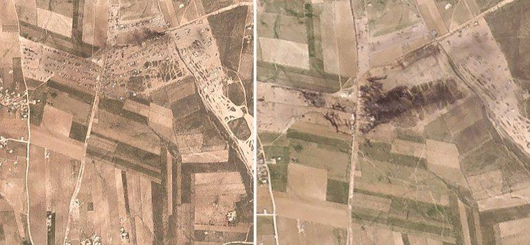 Fotos aéreas muestran efectos de ataque en el norte de Siria