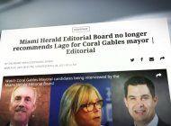 el miami herald le quita el apoyo al candidato a la alcaldia de coral gables, vince lago ¿por que?